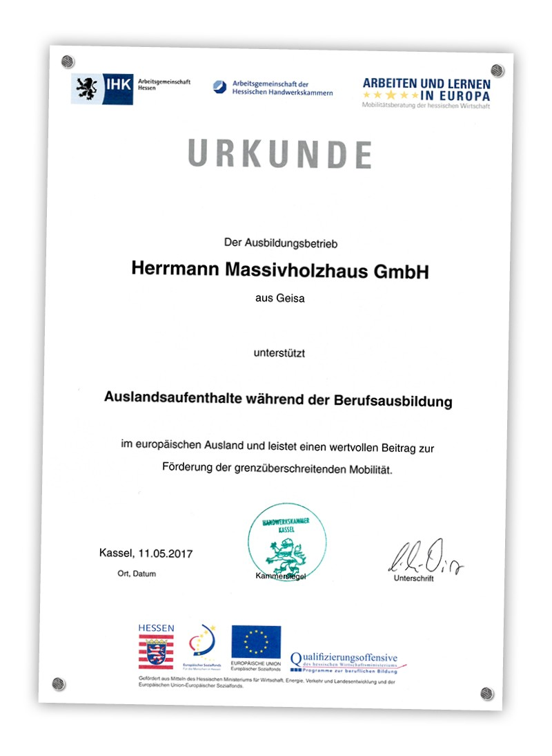 Herrmann Massivholzhaus ausbildung praktika